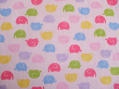 elephant multi colour childrens fabric 100 cotton per 1