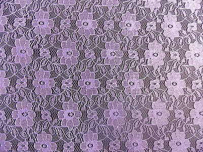 "LILAC  NET CURTAIN LACE FABRIC 44"" WIDE"