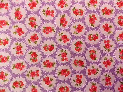 ROSE FLORAL100% COTTON FABRIC SHABBY CHIC VINTAGE RETRO PER METRE LILAC NO1