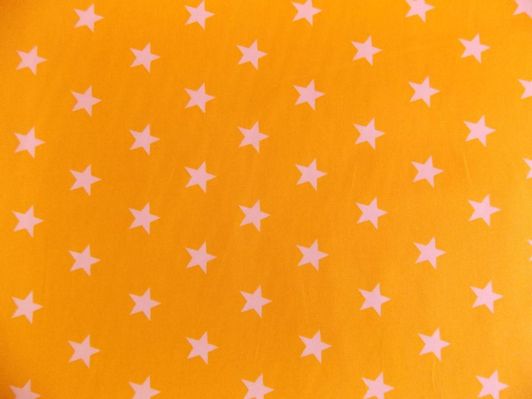 Yellow with 20mm white stars 100 cotton fabric for Star material for curtains