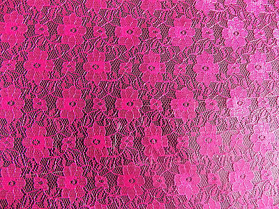 "CERISE PINK NET CURTAIN LACE FABRIC 44"" WIDE"