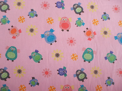 Owl Bird Floral Print 100% Cotton in Pink