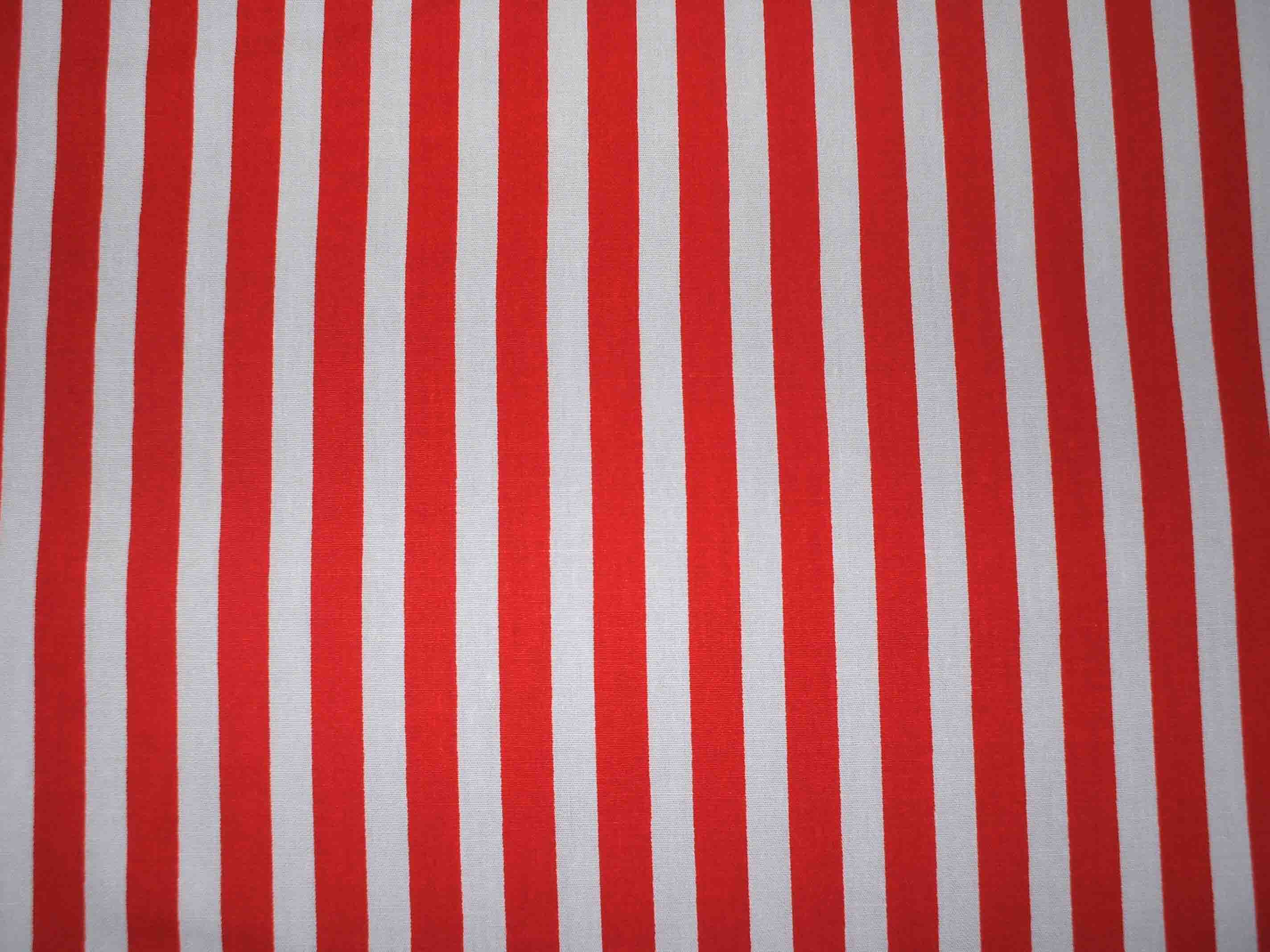 Red With White Stripe 100 Cotton Fabric