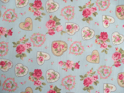 rose floral hearts 100 cotton fabric shabby chic vintage retro pm rh edenhousefabrics co uk shabby chic heart tables shabby chic hearts to make